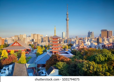Tokyo. Cityscape image of Tokyo skyline during autumn sunset in Japan.