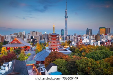 Tokyo. Cityscape image of Tokyo skyline with Sensoji temple during twilight in Japan.