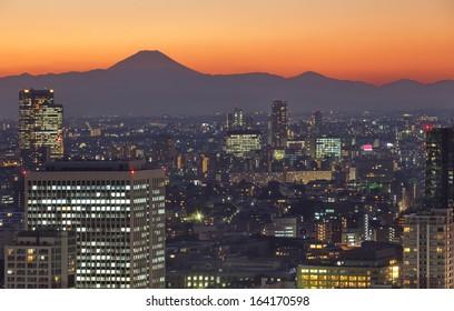 Tokyo cityscape and Mountain fuji at twilight