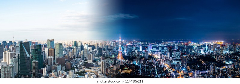 Tokyo cityscape night and day. Panorama view.
