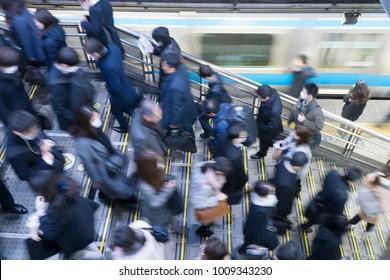 Tokyo commuter landscape Shinagawa station