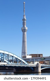 TOKYO - DEC 29, 2013 : View of Tokyo Sky Tree (634m) , the highest free-standing structure in Japan and 2nd in the world with over 10 million visitors each year, on Dec 29 , 2013 in Tokyo, Japan.