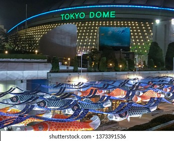 Tokyo Dome and Koinobori (Carp Streamer) for traditional event called children's day  at night in 2019/4/14