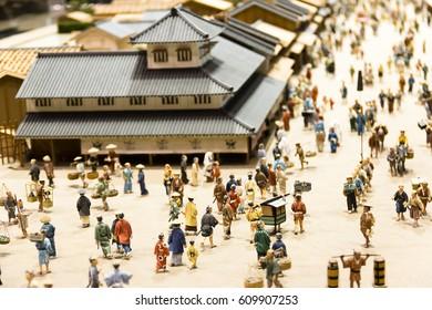 Tokyo Edo Museum,Tokyo/Japan-16 Feb 2017:Figures Model of Edo town or so called Mini Edo