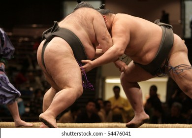 TOKYO - FEBRUARY 01: Close up of two sumo wrestlers in a tight grip during the Tokyo Grand Sumo Tournament, February 01, 2010 in Tokyo, Japan.