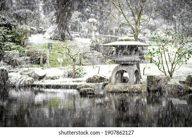 Tokyo Garden in Holland Park under the snow storm in 2021 in London, England, UK