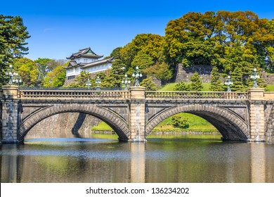 Tokyo Imperial Palace and the bridge against blue sky