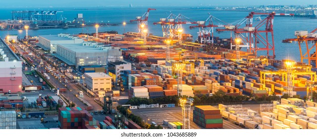 Tokyo Industrial port in Tokyo bay panorama in Tokyo Japan.