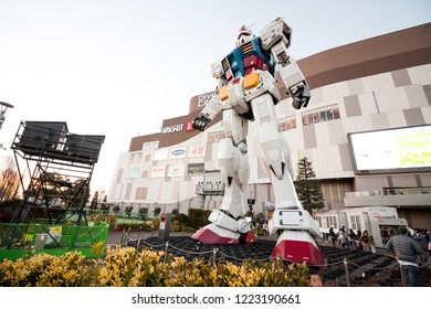 Tokyo January 15, 2017 : The legend of Gundam RX-78-2. The real size model of Gundam robot in Odaiba, Tokyo. Now this Gundam has been torn down in March 2017.