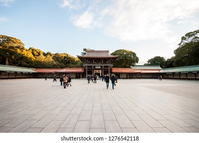 Tokyo January 16, 2017 - Winter : Meiji Shrine located in Shibuya, Tokyo, is the Shinto shrine that is dedicated to the deified spirits of Emperor Meiji and his wife, Empress Shoken.