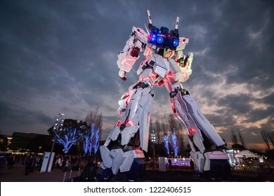 Tokyo January 19, 2018 : Full-size Mobile suit RX-0 Unicorn Gundam replica from the Mobile Suit Gundam Unicorn series at Diver City Tokyo Plaza - a Shopping mall in Odaiba area