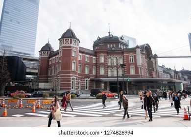 Tokyo January 20, 2018 : tokyo station, a railway station in the Marunouchi business district of Chiyoda, Tokyo, Japan.