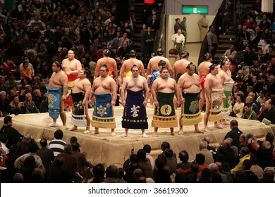TOKYO - JANUARY 20: High rank sumo wrestlers line up with crowd in the Tokyo Grand Sumo Tournament January 20, 2009 in Tokyo, Japan.