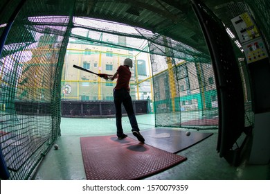 Tokyo, JAPAN - 01 october 2016: Batting center on Tokyo roof. Baseball training or just for fun.