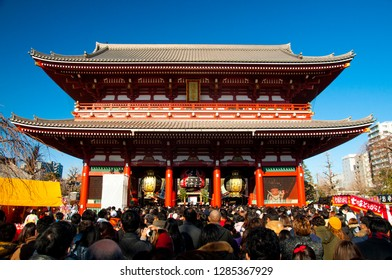 Tokyo / Japan - 01.01.2019: Crowds waiting to enter Senso-Ji Shrine to celebrate the first day of 2019.