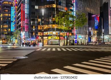 Tokyo, Japan, 04/08/2017: Night street of the metropolis
