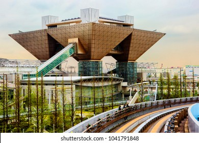 Tokyo, Japan, 04/21/2017, Odaiba. international exhibition centre. Tokyo international Exhibition Center (Tokyo Big Sight) is the largest exhibition center in Japan.