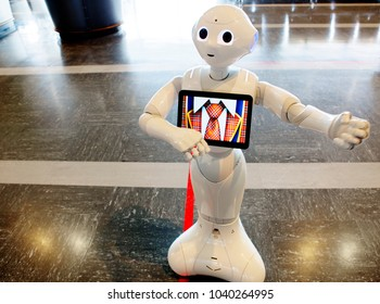 Tokyo, Japan, 04/30/2017, Robot at Narita airport. Advertising. An Autonomous robot can advertise a product, talk to you, wave his hands, answer your questions, play with a child.