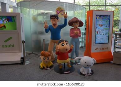 tokyo, japan, 05 07 2017 : sculpture of animation character named crayon shin-chan in tv asahi building at roppongi hills