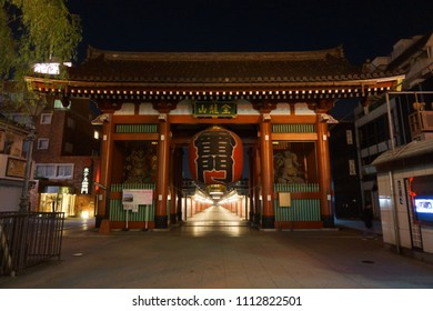tokyo, japan, 05 07 2017 : night view of entrance of kaminarimon meaning thunder gate at asakusa
