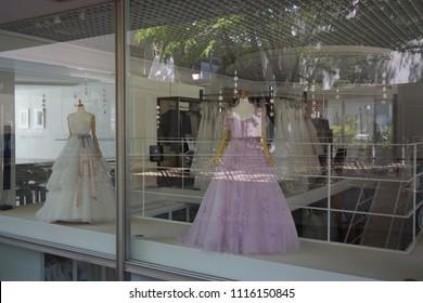 tokyo, japan, 05 08 2017 : view of wedding dress shop at hillside terrace area in daikanyama