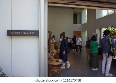 tokyo, japan, 05 08 2017 : view of garden gallery antique market at hillside terrace area in daikanyama