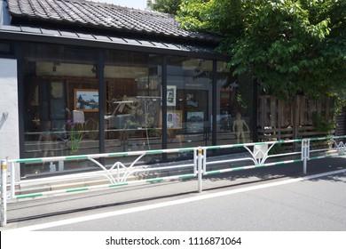 tokyo, japan, 05 08 2017 : view of vintage gallery at hillside terrace area in daikanyama