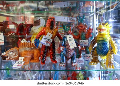 Tokyo, JAPAN - 05 december 2019: Retro toys in famous japan mandarake shop. Highly collectible and expensive vintage toys.