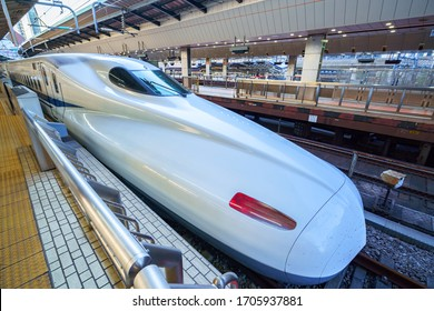 Tokyo, Japan - 09 NOV 2019: Shinkansen bullet train at Tokyo railway station
