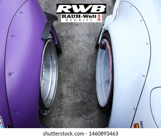 Tokyo, japan - 09 October 2016: The official garage of Rauh Welt (RWB) Porsche builder and custom in Japan, Tokyo district. Very high performance motorsport but underground and small garage.