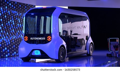 """TOKYO, JAPAN - 1 NOVEMBER 2019 : TOYOTA """"e-Palette"""" at TOKYO MOTOR SHOW. It will run a loop service around the athletes villages to transport competitors at Tokyo 2020 Olympic and Paralympic Games."""