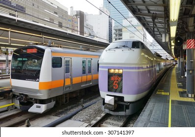 TOKYO, JAPAN -10 AUGUST 2015- The Azusa train operated by JR East is a Japanese railway between Shinjuku in Tokyo and Matsumoto providing service to the Fuji Kyuko line.