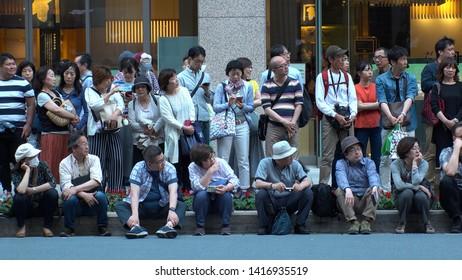 TOKYO,  JAPAN - 11 MAY 2019 : CROWD of PEOPLE at KANDA FESTIVAL.