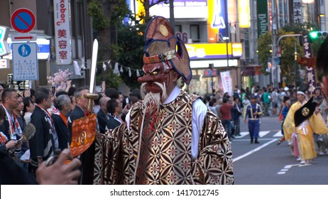 """TOKYO,  JAPAN - 11 MAY 2019 : """"TENGU"""" at KANDA FESTIVAL.  Tengu are a type of legendary creature found in Japanese folk religion and are also considered a type of Shinto god or supernatural beings."""