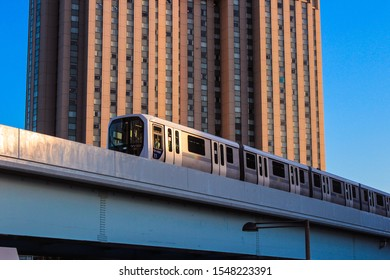 Tokyo, Japan - 13 May 2016: The famous monorail, Yurikamome, connects the city of Tokyo to the artificial island Odaiba, where you can admire the giant Gundam.