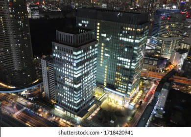 TOKYO, JAPAN - 15 February 2019:Shiodome Building seen from the World Trade Center Observatory