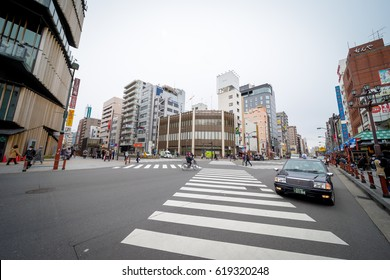 Tokyo, Japan - 15 March 2017: Street view of Asakusabashi. The district is traditionally known for many wholesale stores, and recently known for its large stores selling traditional Japanese dolls.