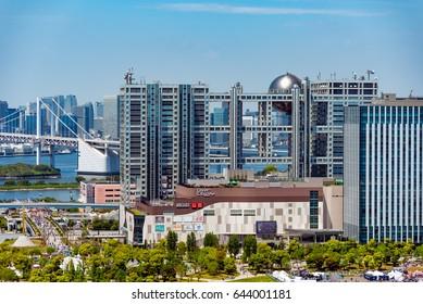 Tokyo, Japan - 15 May 2017: Head Office of Fuji Television and Odaiba area at Tokyo.  Fuji Television Network is a Japanese television station based in Odaiba, Tokyo.