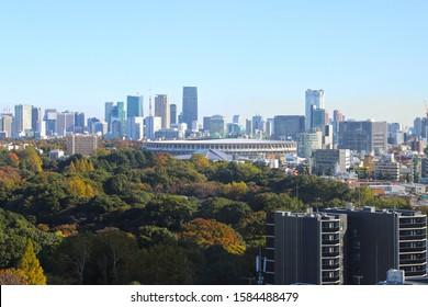TOKYO, JAPAN - 16 November 2019:New National Stadium under construction for Tokyo Olympic 2020