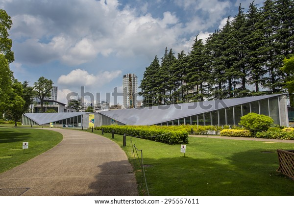 Tokyo, Japan - 18 May 2015: 21 21 Design Sight, it is a design museum that was created by architect Tadao Ando and fashion designer Issey Miyake.