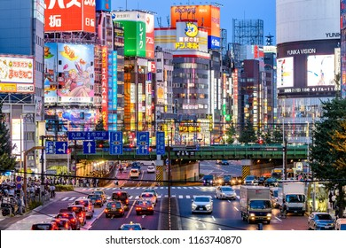 Tokyo, Japan. 18th August, 2018: Shinjuku district view at night in Tokyo, Japan