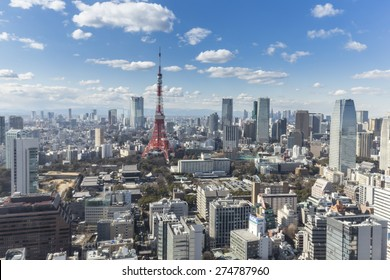 TOKYO, JAPAN - 19 FEBRUARY 2015 - The Tokyo tower in the Kanto region and Tokyo prefecture, is the first largest metropolitan area in Japan. Downtown Tokyo is very modern with many skyscrapers.