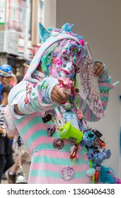 Tokyo, Japan - 19 June 2016: Young man in youth culture cosplay outfit. Harajuku district of Tokyo.
