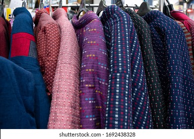 Tokyo, Japan - 19th February, 2020: Hanten (袢纏; also半纏,半天, or袢天) - a traditional Japanese winter coat - in different colors.