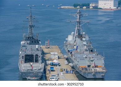 Tokyo Japan, 20 Jun 2015 Japan Naval Ship DD-110 Takanami and US Naval Ship DDG-85  McCampbell at Yokosuka Naval Port.