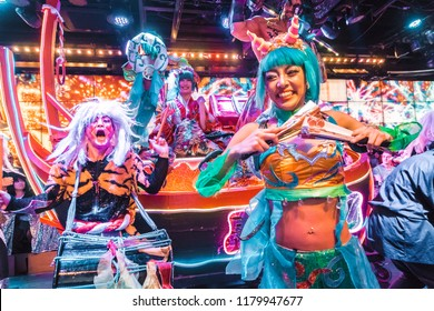 Tokyo, Japan - 20 October 2017: Performers at the famous Robot Restaurant Show in Tokyo.