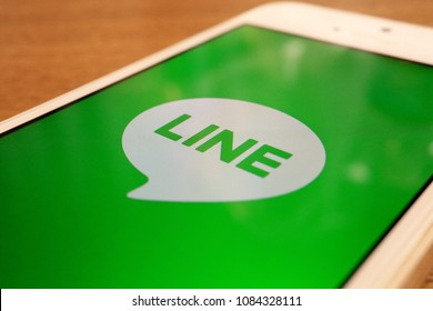TOKYO, JAPAN. 2018 APR 1ST. LINE App Logo on Smartphone Display, Is a Most famous Messenger App in Japan.