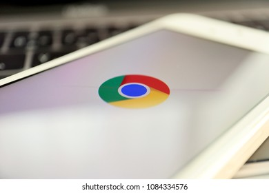 TOKYO, JAPAN. 2018 APR 1ST. Google Chrome App Logo on Smartphone Display.