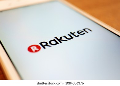 TOKYO, JAPAN. 2018 APR 1ST. Rakuten App Logo on Smartphone Display. Rakuten Is a Largest e-commerce Website and Services Company in Japan.