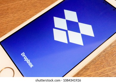 TOKYO, JAPAN. 2018 APR 1ST. Dropbox App Logo on Smartphone Display.